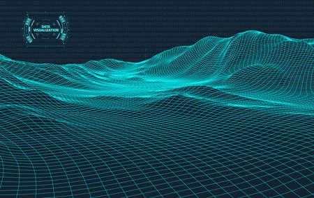 Visualización de big data. Fondo 3d. Gran fondo de conexión de datos. Tecnología cibernética Ai tech wire network visualización de datos de estructura metálica futurista. Ilustración vectorial. Inteligencia artificial .