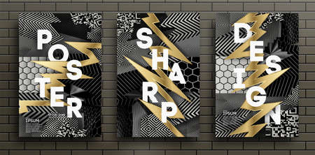 Set of Black and Gold Design Templates for Brochures, Flyers, Mobile Technologies, Applications, and Online Services, Typographic Emblems, Logo, Banners. Abstract Modern Backgrounds.