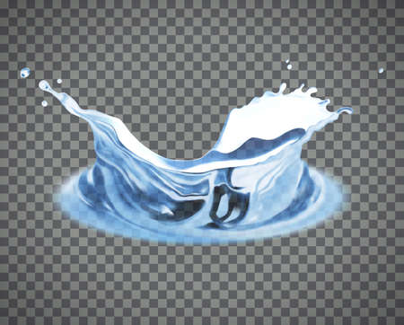 Transparent vector water splash isolated on light background