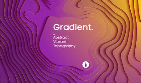 Abstract gradient vector background. Paper cut 3d background in yellow and magenta colors. Vector