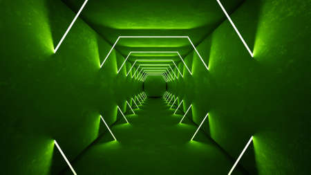 Night club interior green lights 3d render for laser show. Glowing green lines.