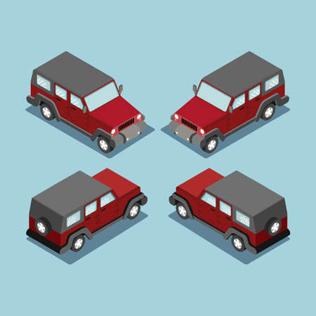 Isometric safari off road car . SUV red cross country vehicle.