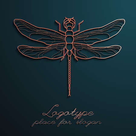 Dragonfly logo design vector illustration eps10. Designer creative logos. Ilustracja