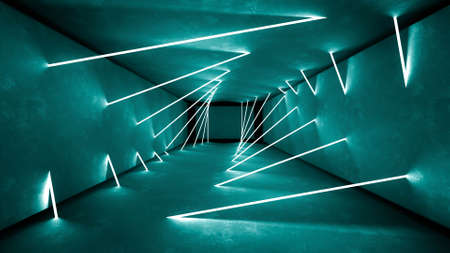 Night club interior lights 3d render for laser show. Glowing lines.