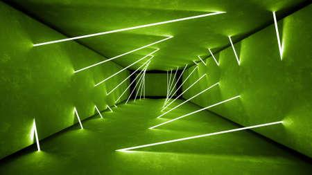 Night club interior green lights 3d render for laser show. Banco de Imagens