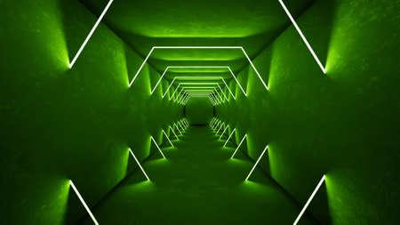 Night club interior green lights 3d render for laser show. Glowing green lines Banco de Imagens