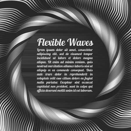 Abstract vector background, waved lines vector illustration colorful design. Wavy stripes twisted as silk . Colored stripes with variable width. Fashion , Ilustração