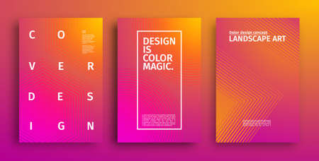 Minimal covers design. Colorful halftone gradients. Future geometric patterns. Ilustração