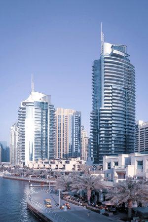 Dubai, UAE December 252018 Blue dubai marina. Panoramic view. Dubai downtown cityscape. Dubai city background.