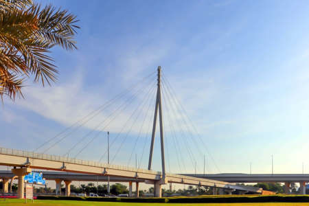 Dubai, UAE December 252018 Modern bridge. United arab emirates. Dubai sunset background. 新聞圖片