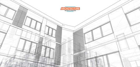 Architecture, great design for any purposes. 3d illustration architecture urban city modern building perspective abstract background. Urban building vector illustration.