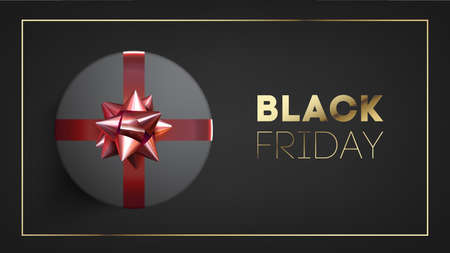 Black friday banner with black giftbox decorated with red ribbon on black background. Иллюстрация