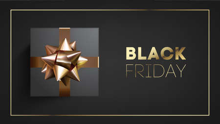 Black friday banner with black giftbox decorated with golden ribbon on black background.