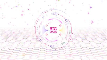 EPS 10. Big data analytics concept. Information technology connection structure. Big data visualization media marketing concept. Vector digital data visualization. Иллюстрация
