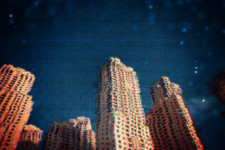 Design of 3d pattern with city glitch. Digital pixel noise error. Abstract screen glitch noise texture.