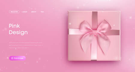 Pink bow tie. Pink giftbox with ribbon bow, illustration vector. Website
