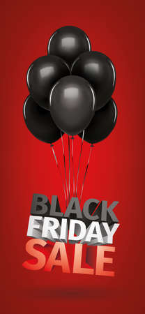 Black friday sale gold lettering. Holiday shopping. Red background. Vector illustration. Balloons Иллюстрация