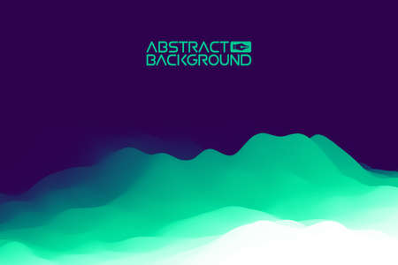 3D landscape Background. Purple Gradient Abstract Vector Illustration.Computer Art Design Template. Landscape with Mountain Peaks Иллюстрация