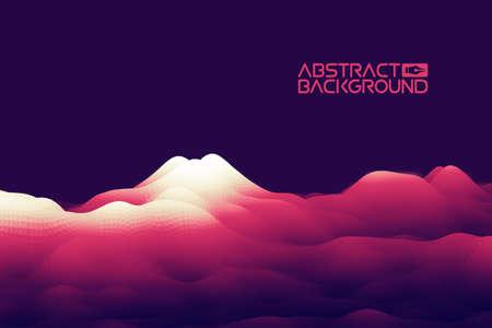 3D landscape Background. Purple Gradient Abstract Vector Illustration.Computer Art Design Template. Landscape with Mountain Peaks Иллюстрация