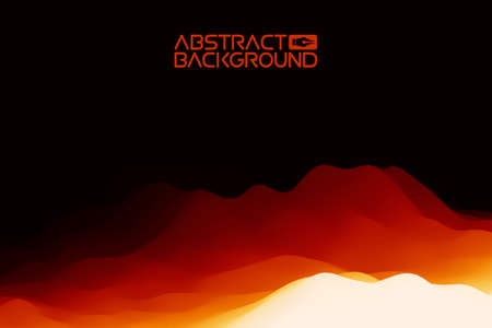 3D landscape Background. Black red Gradient Abstract Vector Illustration.Computer Art Design Template. Landscape with Mountain Peaks Иллюстрация