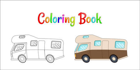 Camping car vector concept, Coloring pages for kids Vector illustration eps 10. Иллюстрация