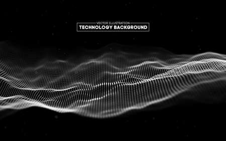 Abstract technology background. Background 3d grid.Cyber technology Ai tech wire network futuristic wireframe. Artificial intelligence . Cyber security background Ilustração