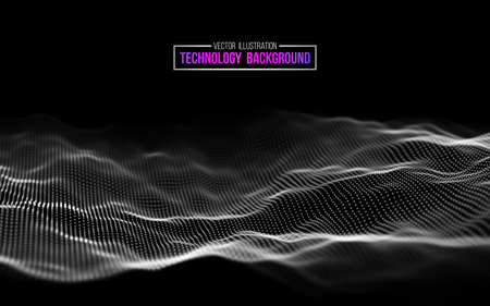 Abstract technology background. Background 3d grid.Cyber technology Ai tech wire network futuristic wireframe. Artificial intelligence . Cyber security background Vector Ilustração