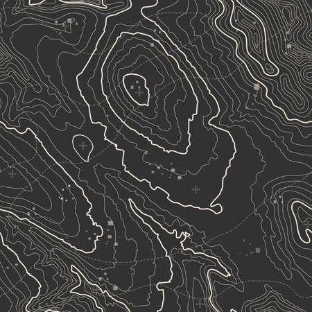 Modèle sans couture. Fond de carte topographique avec espace pour copie Texture transparente. illustration vectorielle abstraite de grille géographique. Terrain de sentier de randonnée en montagne.