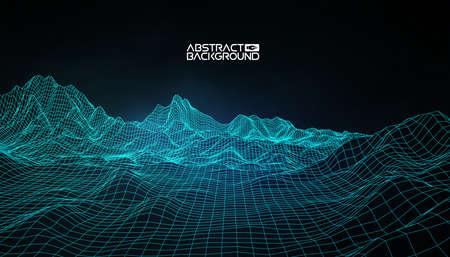 Fond de paysage abstrait vectoriel filaire. Grille du cyberespace. Illustration vectorielle de technologie filaire 3D. Paysage numérique filaire. Vecteurs