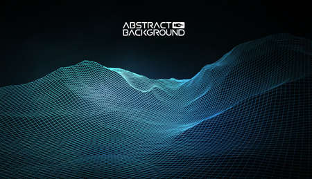 Abstract vector wireframe landscape background. Cyberspace grid. 3d technology wireframe vector illustration. Digital wireframe landscape.