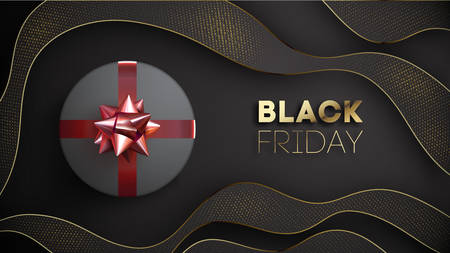 Black friday vector banner with black giftbox