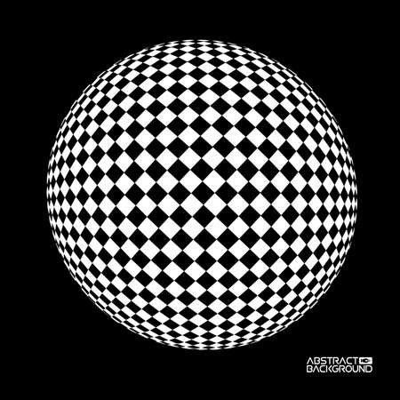 Optical sphere vector illustration. Concept of optical illusion. Square illusions.