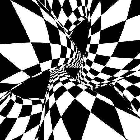 Optical illusion vector. Abstract vector tunnel. Black and White Abstract Hypnotic Wormhole Tunnel.