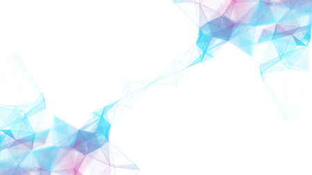 Abstract blue background with blue particles. Abstract triangles and lines