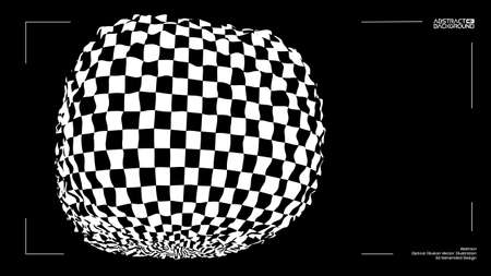 3D vector optical illusion. Distorted box with checker texture