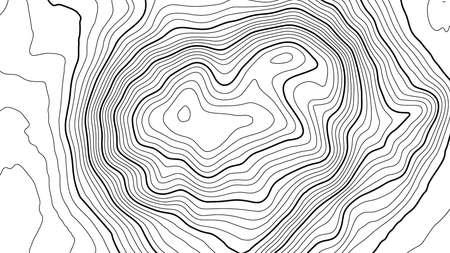 Topographie vectorielle de contours gris. Illustration vectorielle de topographie de montagne géographique. Texture de motif topographique. Carte sur un terrain vectoriel terrestre. Lignes de hauteur de contour graphique d'élévation. Carte topographique