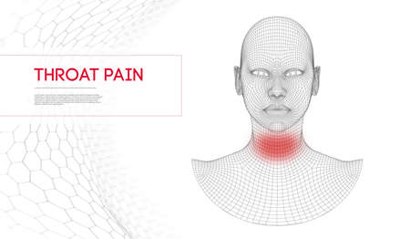 Influenza and cold sick concept vector illustration. Woman swallow winter pain. Throat ache or thyroid problem. Angina concept with red gradient.