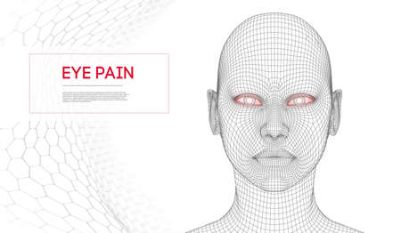 Tearing and pain in the eyes. Stress in woman eyes at work. Symptoms of allergy, irritant vector.