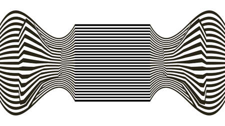 Line waves illusion optical. Black and white seamless horisontal pattern lines vector.