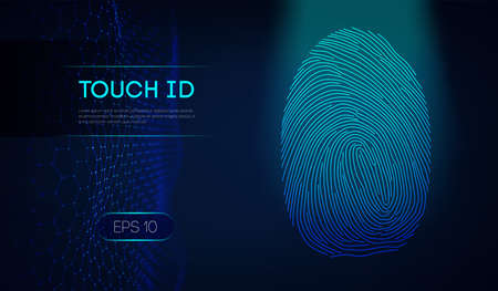 Personal digital identifiers. Touch id scan concept vector illustration. Personal data privacy. Eps 10