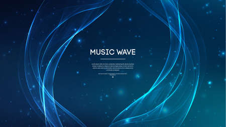 Music abstract background blue. Equalizer for music, showing sound waves .