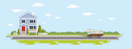 Flat house cartoon illustration. Trees village and camping car on country road. EPS 10
