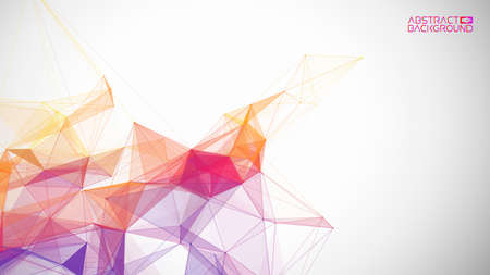 Network background abstract. Connect technology business concept of line grid triangle structure on white background. Global internet communication colorful tech backdrop. Vector illustration EPS 10.
