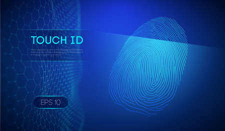 Touch id on dark blue background. Biometric authorization. 向量圖像