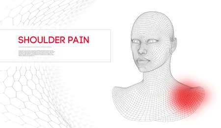Woman with shoulder pain. Wireframe head 3d. Vector Illustration.