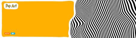 Op art vector illustration, yellow orange background, pop art illustration. 矢量图像