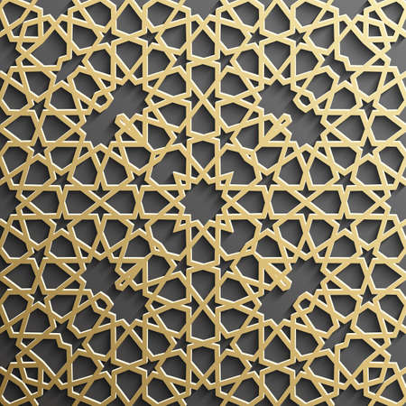 Background with gold seamless pattern on black background in islamic style. Illustration