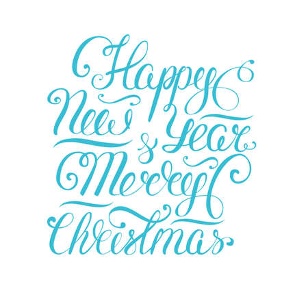 Happy new year lettering vector illustration. Xmas vector background. Isolated text