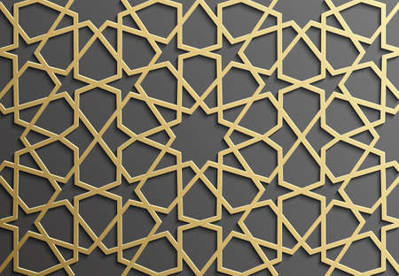 Background with gold seamless pattern on black backgroud in islamic style.