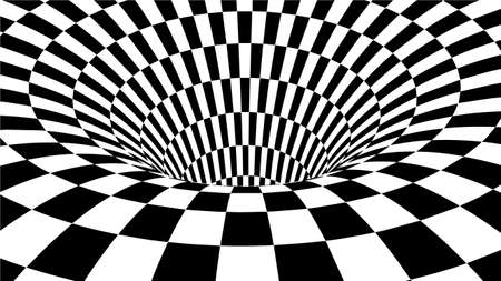 Optical illusion . Abstract tunnel. Black and White Abstract Hypnotic Wormhole Tunnel. Stock Photo